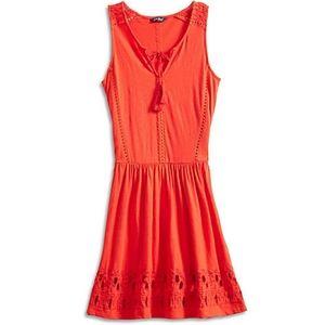 Lucky Boho Fire Red Dress Eyelet Crochet Like New